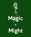 Voldemort Ministry Magic is Might motto poster by Chroniton8990