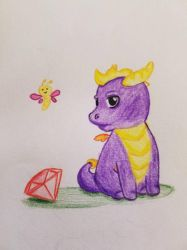 Spyro and Sparx as babies by ShiroToraTenshi