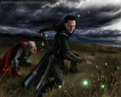 Thor and Loki by eleathyra
