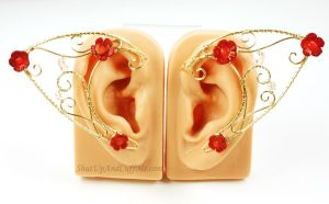 Red Coral Flowers and Golden Scrolls Elf Ear Cuffs by Gailavira