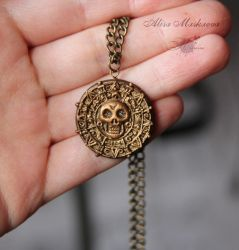 Pirates of the Caribbean medallion polymer clay by Krinna