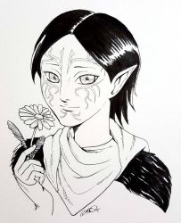 Inktober Day 24: Merrill(Dragon Age 2) by athena-i