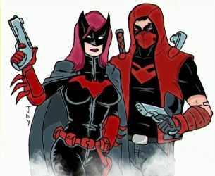 Batwoman and Red Hood by Jasontodd1fan