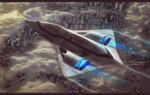 Sci-Fi Dropship Over City 3D Commission by AdamKop