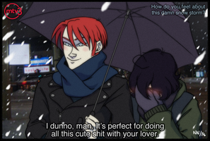 Snowstorm couple meme by kindlyanni