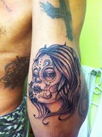 Sugar Skull Girl Tattoo by ngoc50