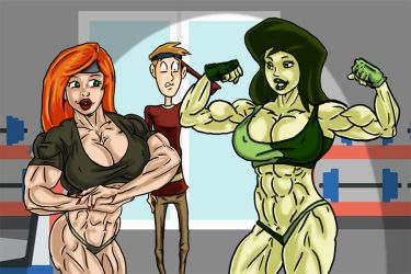 Kim and Shego with Ron  By Ritualist color v1 by acidrain101