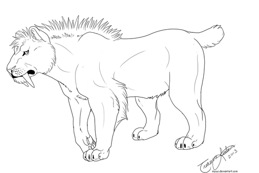 Male Sabertooth Short Tail Template by Myuui