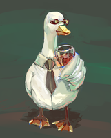 duck chillin with wine by milkybee