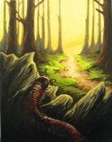 Millipede emerging from woods by greenfortune