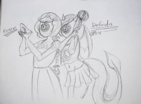 Delinda shopping with Renee by Cyndrawing