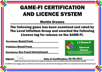 Marble Dreams Game-Fi Phase Two Certificate by LevelInfinitum
