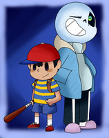 Ness and Sans by Kitshime-SP