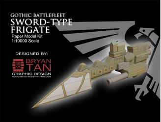 Gothic Battlefleet -Sword-Class Frigate Papercraft by RocketmanTan