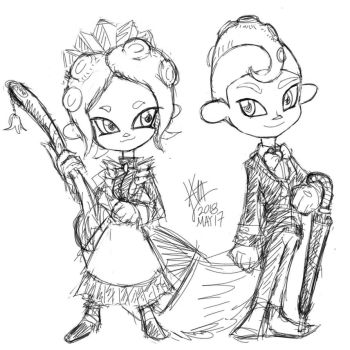 Octoling Maid and Bulter by alt-L