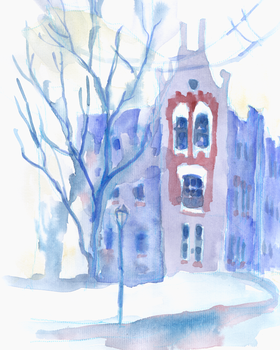 music school building at winter by ringonoki