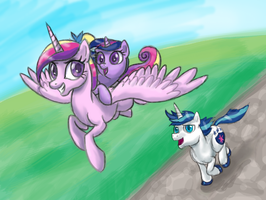Faster, he's catching up! by DawnMistPony