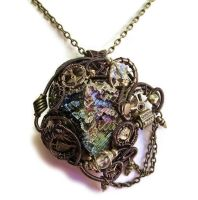 Steampunk Bismuth, Swarovski Crystal and Quartz by HeatherJordanJewelry