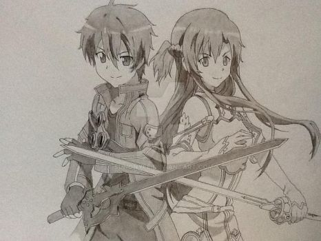 Drawing Of Kirito and Asuna From SwordArtOnline by SunOnYee