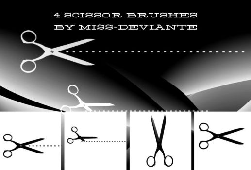 4 CUTTING EDGE SCISSOR BRUSHES by Miss-deviantE