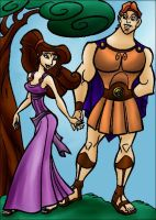 DC - Hercules and Megara (color) by vanillacoke-disney