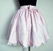 Pink Scallop Skirt with Lace by laurabububun