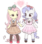 Fluttershy and Rarity by Yanamosuda