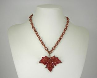 French Beaded Autumn Leaf by Lady-Blue