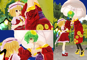 Flandre Scarlet and Yuuka - Friendly Encounter by MisterZero83