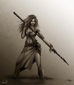 Spear Girl in the water - Sketch by nik-ivanov
