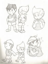 Nesscas doodles (earthbound\mother3) by Kitshime-SP