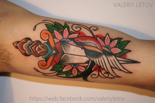 dagger and swallow tattoo by ValeriyLetov