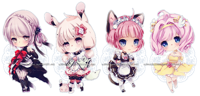 Chibi commissions 4 by LaDollBlanche