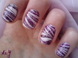 Purple Water Marble Nail Design by AnyRainbow