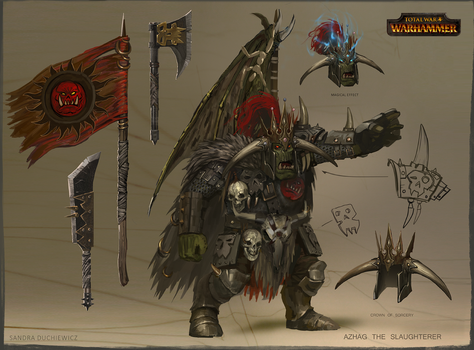 TW:Warhammer Concept Art - Azhag the Slaughterer by telthona