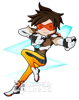 Overwatch: Tracer Chibi by SmudgedPixelsArt