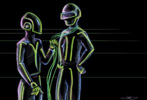 Daft Punk, retro TRON by initialaitch