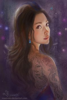 Asian Tattoo Girl by Maximko