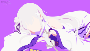 Emilia (Re: Zero) Minimalist Wallpaper by ExLu