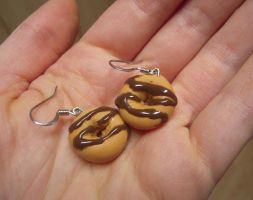 Chocolate Zigzag Doughnut Earrings by lily-inabottle