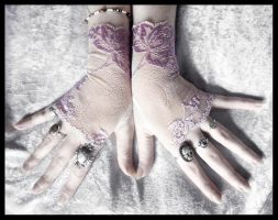 Wisteria Lace Fingerless Gloves by ZenAndCoffee