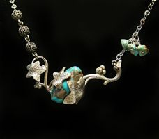 Silver Turquoise Necklace by byrdldy