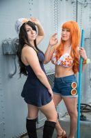 Nami and Nico Robin Dressrosa One Piece Cosplay by firecloak