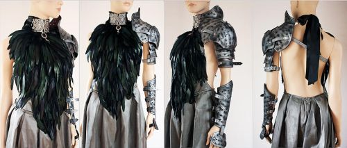 Feather dress and leather armor set III by Pinkabsinthe