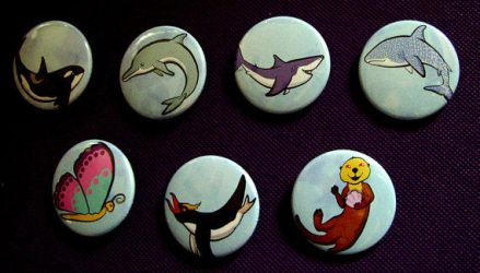 Sea Life Buttons by MischievousPooka