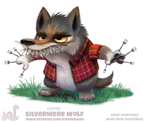 Daily Paint 2049# Silverwere Wolf by Cryptid-Creations