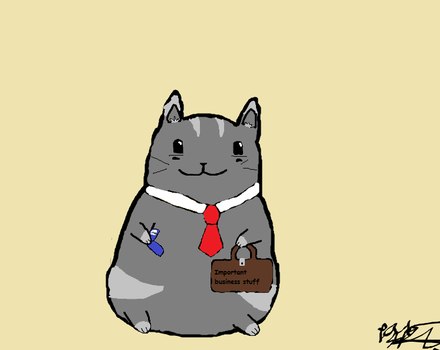 business cat has important business stuff too do by joeycow