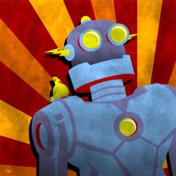 Robot with Yellow Bird by JoeyGates
