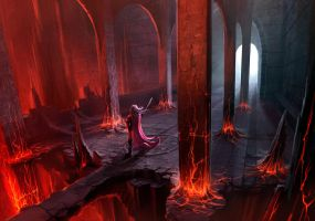 Fire Caves - Concept painting. by ANTIFAN-REAL