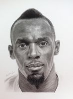 Usain Bolt - charcoal  graphite pencils drawing by hand2draw